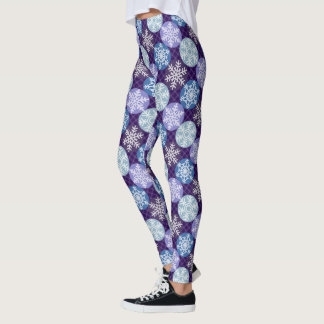 Cute  Blue and Violet Snowflakes Winter Pattern Leggings