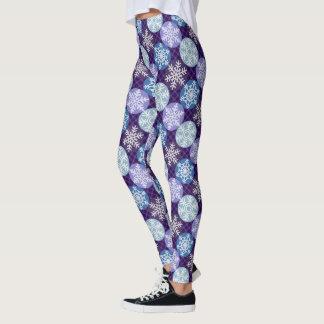 Cute  Blue and Violet Snowflakes Winter Pattern Leggings