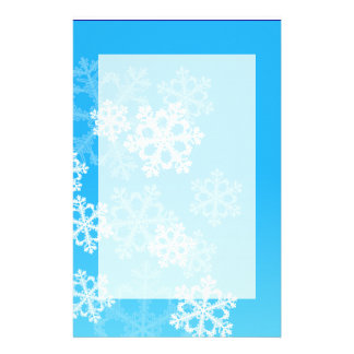 Cute blue and white Christmas snowflakes Customized Stationery