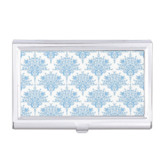 Cute Blue and White Damask Pattern Business Card Cases