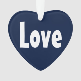 Cute Blue and White Love Word Design Ornament