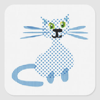 Cute  blue and white spot cat stickers