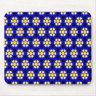 Cute Blue and Yellow Flower Pattern Mouse Pad