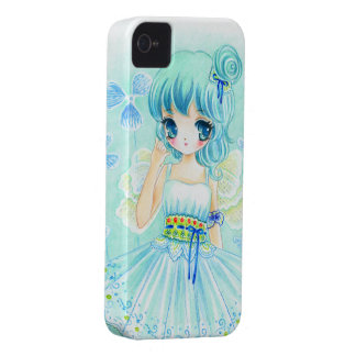 Cute blue anime fairy girl iPhone 4 cover