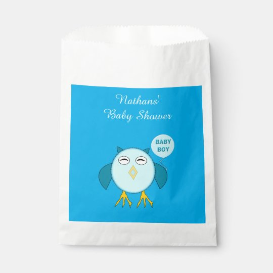 Cute Blue Baby Boy Owl Custom Favour Bags