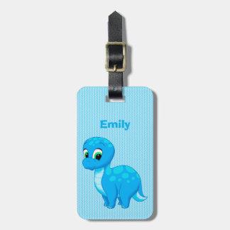 Cute Blue Baby Brontosaurus Dinosaur Luggage Tag