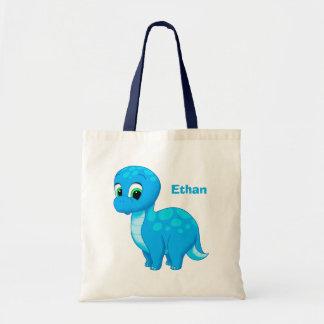 Cute Blue Baby Brontosaurus Dinosaur Tote Bag
