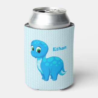 Cute Blue Baby Dinosaur Can Cooler