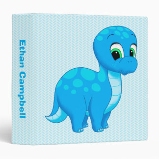 Cute Blue Baby Dinosaur Vinyl Binder