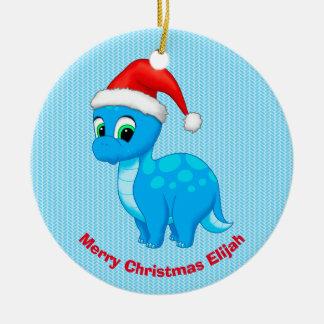 Cute Blue Baby Dinosaur with Santa Hat Ceramic Ornament