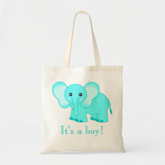 Cute Blue Baby Elephant Tote Bag - It's A Boy!