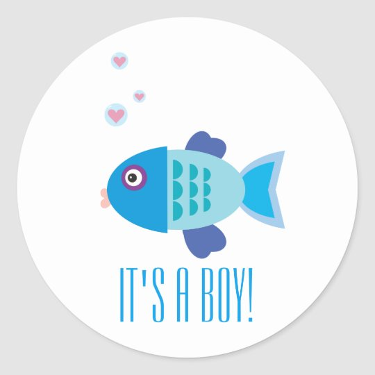 Cute Blue Baby Fish Cartoon Gender Reveal Classic Round Sticker