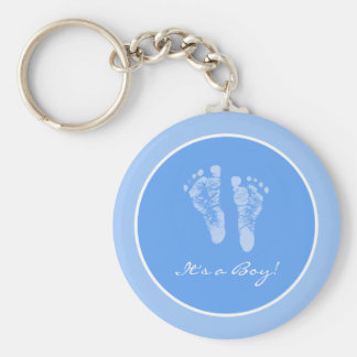Cute Blue Baby Footprints Its a Boy Baby Shower Basic Round Button Keychain