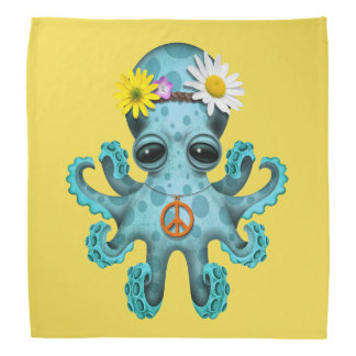 Cute Blue Baby Octopus Hippie Bandana