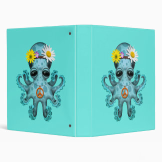 Cute Blue Baby Octopus Hippie Binder