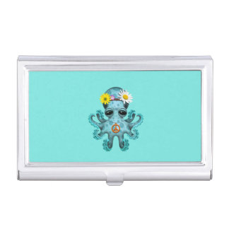Cute Blue Baby Octopus Hippie Business Card Holder