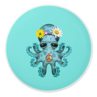 Cute Blue Baby Octopus Hippie Ceramic Knob