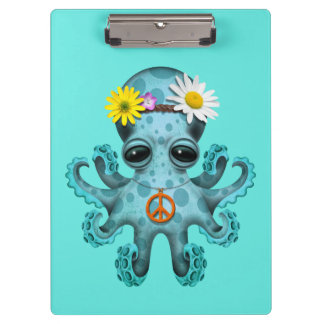 Cute Blue Baby Octopus Hippie Clipboard