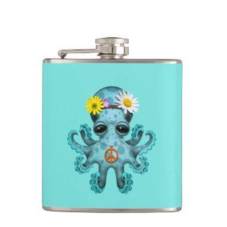 Cute Blue Baby Octopus Hippie Hip Flask