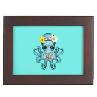 Cute Blue Baby Octopus Hippie Keepsake Boxes