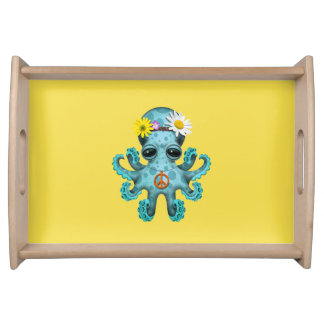 Cute Blue Baby Octopus Hippie Serving Tray