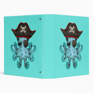 Cute Blue Baby Octopus Pirate 3 Ring Binders