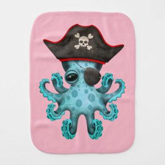 Cute Blue Baby Octopus Pirate Burp Cloth