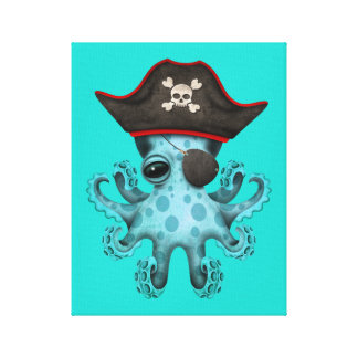 Cute Blue Baby Octopus Pirate Canvas Print