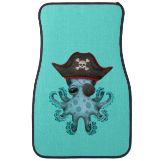 Cute Blue Baby Octopus Pirate Car Mat