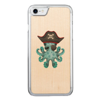 Cute Blue Baby Octopus Pirate Carved iPhone 8/7 Case