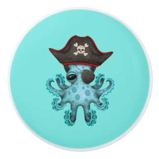 Cute Blue Baby Octopus Pirate Ceramic Knob