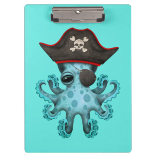 Cute Blue Baby Octopus Pirate Clipboard
