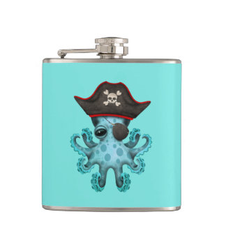 Cute Blue Baby Octopus Pirate Hip Flask