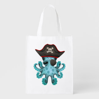 Cute Blue Baby Octopus Pirate Reusable Grocery Bag