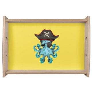 Cute Blue Baby Octopus Pirate Serving Tray