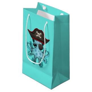 Cute Blue Baby Octopus Pirate Small Gift Bag