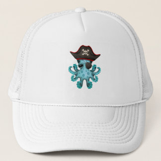 Cute Blue Baby Octopus Pirate Trucker Hat