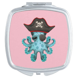 Cute Blue Baby Octopus Pirate Vanity Mirror