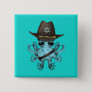 Cute Blue Baby Octopus Sheriff 2 Inch Square Button