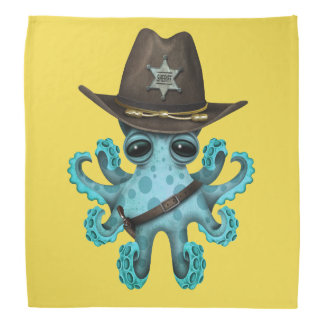 Cute Blue Baby Octopus Sheriff Bandana