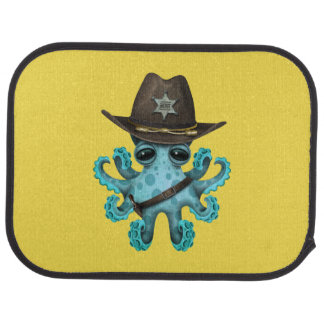 Cute Blue Baby Octopus Sheriff Car Mat