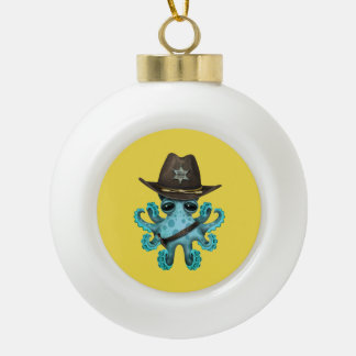 Cute Blue Baby Octopus Sheriff Ceramic Ball Christmas Ornament