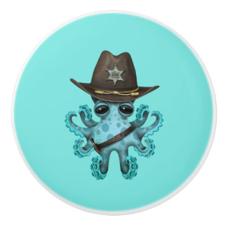Cute Blue Baby Octopus Sheriff Ceramic Knob