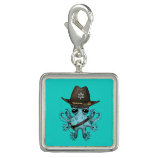 Cute Blue Baby Octopus Sheriff Charm