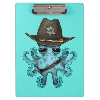 Cute Blue Baby Octopus Sheriff Clipboard