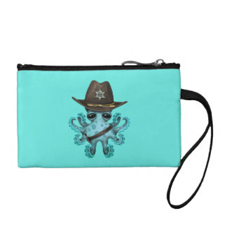 Cute Blue Baby Octopus Sheriff Coin Purse