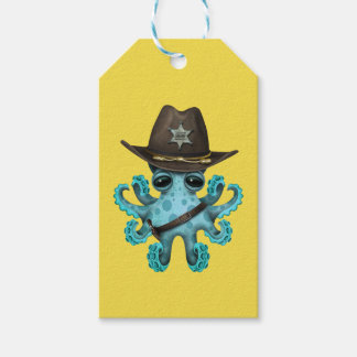 Cute Blue Baby Octopus Sheriff Gift Tags