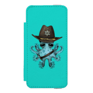 Cute Blue Baby Octopus Sheriff Incipio Watson™ iPhone 5 Wallet Case