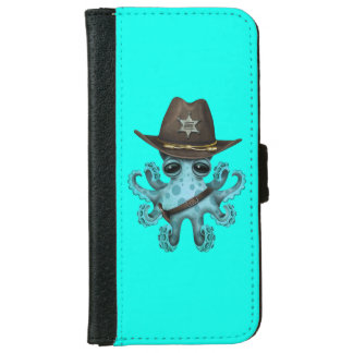 Cute Blue Baby Octopus Sheriff iPhone 6 Wallet Case