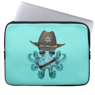Cute Blue Baby Octopus Sheriff Laptop Sleeve